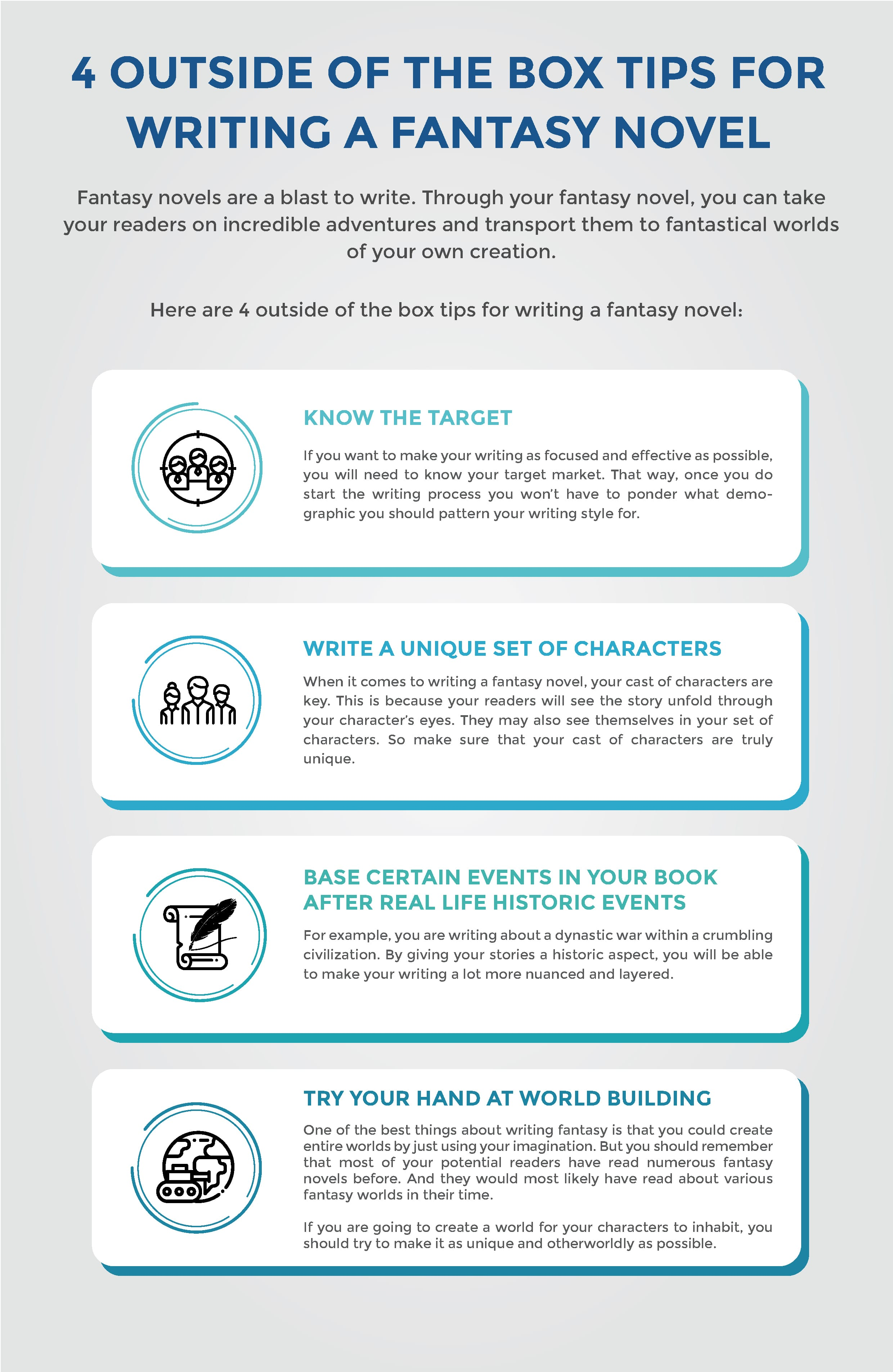 fantasy novel writing tips infographics